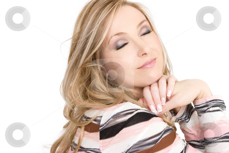 Daydreamer stock photo, Woman thinking sweet thoughts. by Leah-Anne Thompson