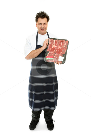 Quality Meat stock photo, Butcher showcasing some meat products. by Leah-Anne Thompson