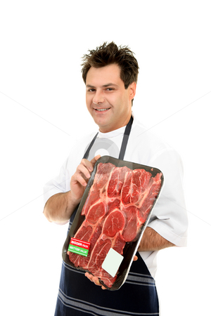 Smiling Butcher stock photo, Smiling butcher holding meat tray by Leah-Anne Thompson