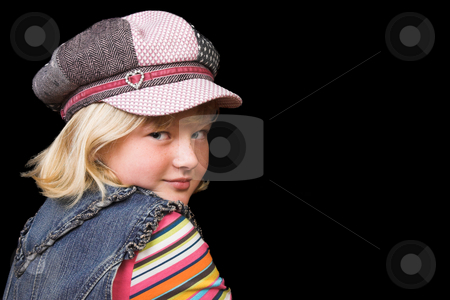 Young Girl stock photo, Young girl wearing a hat, against a black background by Carla Booysen