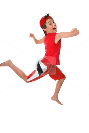 Leap for Joy stock photo, Happy healthy boy leaping or running and having fun by Leah-Anne Thompson
