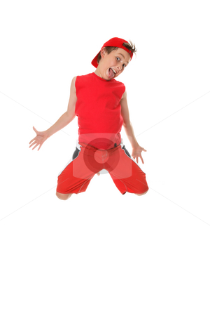 Leaping Larrikin stock photo, Larrikin boy jumping and poking out tongue. by Leah-Anne Thompson