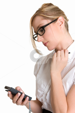 Woman with a pda stock photo, Business woman using a pda loaded with application software by Leah-Anne Thompson