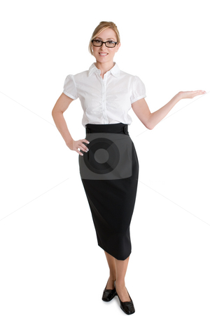 Saleswoman advertising product stock photo, Businesswoman with hand outstretched demonstrating or showcasing a product. by Leah-Anne Thompson