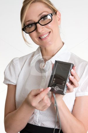 Female worker demonstrating electronic organiser stock photo, Female using or demonstrating  an electronic pda device by Leah-Anne Thompson
