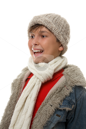 Happy boy profile stock photo, Happy laughing  boy dressed in coat and scarf for winter. by Leah-Anne Thompson