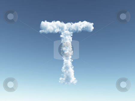 Cloudy letter T stock photo, Clouds forms the uppercase letter T in the sky - 3d illustration by J?