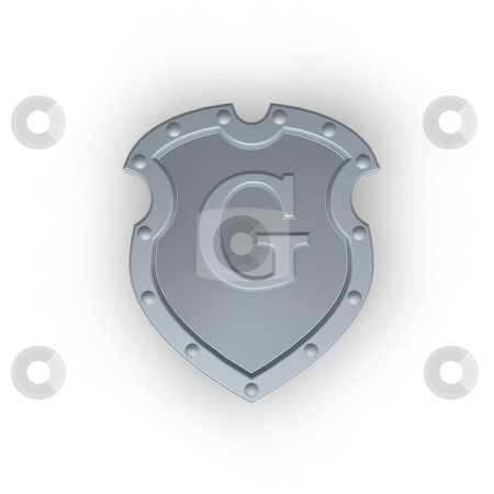 Shield with letter E stock photo, Metal shield with letter G  on white background - 3d illustration by J?