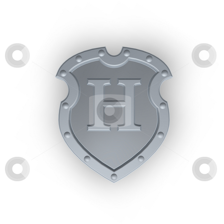Shield with letter H stock photo, Metal shield with letter H on white background - 3d illustration by J?