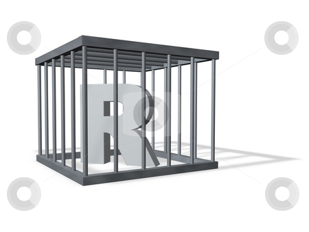 Big R in a cage stock photo, Uppercase letter R in a cage on white background - 3d illustration by J?