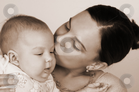 Mom and Baby stock photo, Smiling Mother and Baby on a white background by Carla Booysen