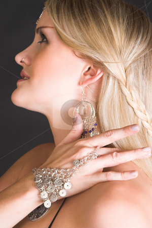 Belly Dancer stock photo, Beautiful Blond Belly Dancer with traditional jewelery by Carla Booysen