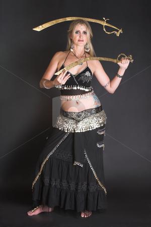 Belly Dancer stock photo, Belly Dancer hands holding Tribal Zagat or finger symbols by Carla Booysen