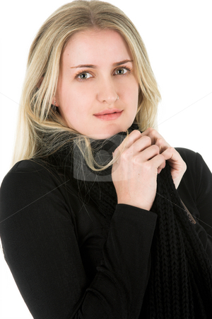 Blond Model stock photo, Beautiful young blond model with striking green eyes by Carla Booysen