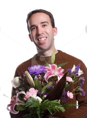 Smiling Male Florist stock photo, A smiling male florist is holding a lily bouquet, isolated against a white background by Richard Nelson