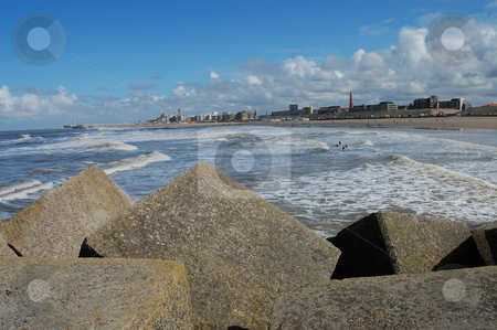 View over Rocks ! stock photo, View of the Scheveningen beach, in the Hague, the Netherlands by Jose Eduardo Valle