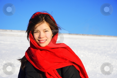 Winter woman with headscarf stock photo, Beautiful winter woman with red headscarf. by Maridav