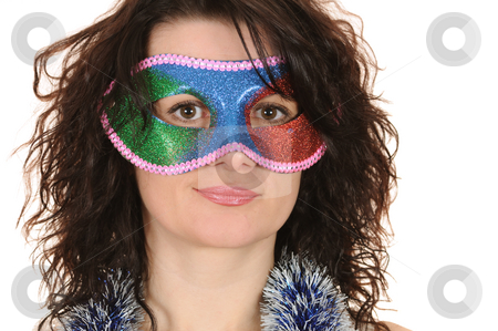 Woman in mask stock photo, Woman in carnival mask isolated on white background by Salauyou Yury