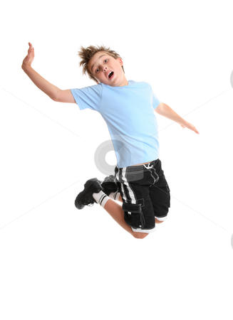 Dance moves stock photo, Child moving and grooving  in mid air. by Leah-Anne Thompson