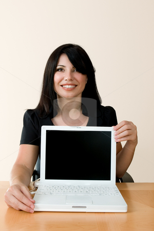 Woman with laptop stock photo, Smiling woman with laptop computer by Leah-Anne Thompson