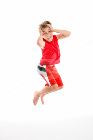 Oh no - panic fear  phobia stock photo, A panicked boy mid air grabs his head in fear or apprehension. by Leah-Anne Thompson
