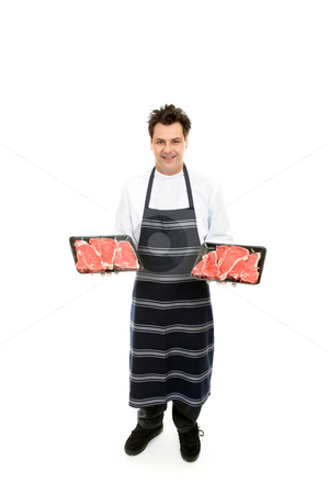 Butcher with trays of meat stock photo, Friendly butcher holding trays of tender steak. by Leah-Anne Thompson
