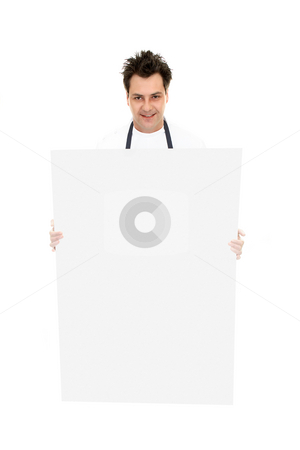 Man with sign board stock photo, Man carrying a blank sign, message, promotion  or picture. by Leah-Anne Thompson