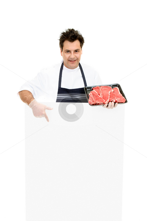 Butcher - This weeks specials stock photo, Butcher pointing to a blank sign by Leah-Anne Thompson