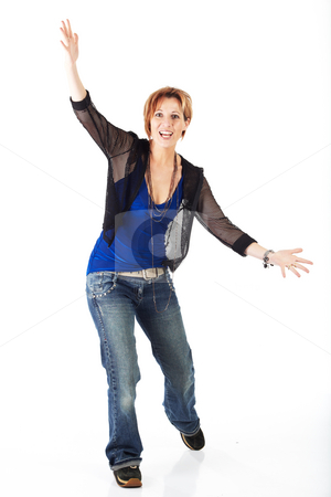 Beautiful adult woman stock photo, Beautiful adult caucasian woman with short streaked red hair in various poses, shot on a white background. Not Isolated, part of a series by Sean Nel