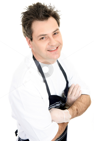 Smiling Butcher stock photo, Smiling butcher in uniform. by Leah-Anne Thompson
