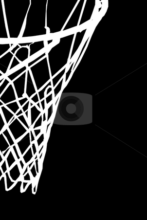 Basket stock photo, White basket with net on black background by Reinhart Eo