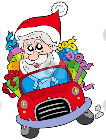 Santa Claus driving car stock vector clipart, Santa Claus driving car - vector illustration. by Klara Viskova