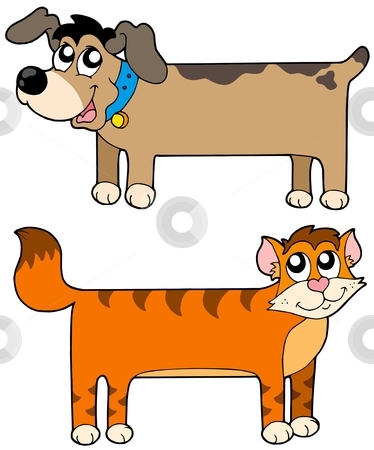 Flat cat and dog stock vector clipart, Flat cat and dog - vector illustration. by Klara Viskova