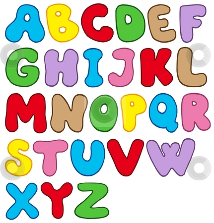 Cartoon alphabet stock vector clipart, Cartoon alphabet on white background - vector illustration. by Klara Viskova