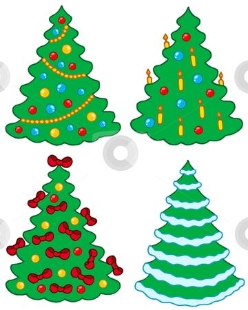 Various Christmas trees stock vector clipart, Various Christmas trees - vector illustration. by Klara Viskova