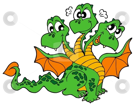 Cute three headed dragon stock vector clipart, Cute three headed dragon - vector illustration. by Klara Viskova