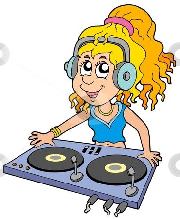 Cartoon DJ girl stock vector clipart, Cartoon DJ girl on white background - vector illustration. by Klara Viskova