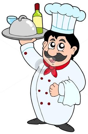 Cartoon chef holding meal and wine stock vector clipart, Cartoon chef holding meal and wine - vector illustration. by Klara Viskova