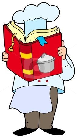 Chef reading cookery book stock vector clipart, Chef reading cookery book - vector illustration. by Klara Viskova