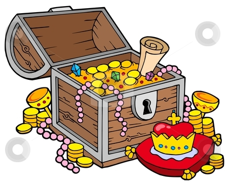 Big treasure chest stock vector clipart, Big treasure chest - vector illustration. by Klara Viskova