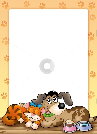 Frame with cute cat and dog stock photo, Frame with cute cat and dog - color illustration. by Klara Viskova