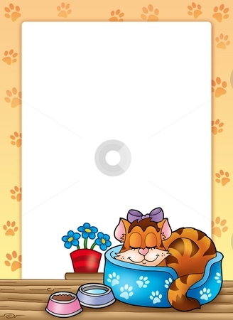 Frame with cute sleeping cat stock photo, Frame with cute sleeping cat - color illustration. by Klara Viskova