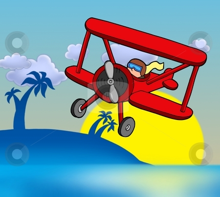 Sunset with biplane stock photo, Sunset with biplane - color illustration. by Klara Viskova
