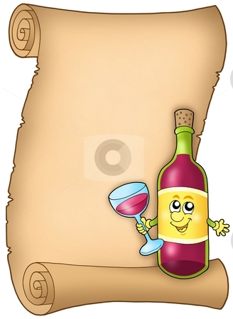 Cartoon wine list stock photo, Cartoon wine list - color illustration. by Klara Viskova