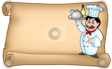 Scroll with chef 2 stock photo, Scroll with chef 2 - color illustration. by Klara Viskova