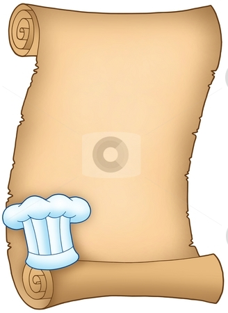 Scroll with chefs hat 2 stock photo, Scroll with chefs hat 2 - color illustration. by Klara Viskova