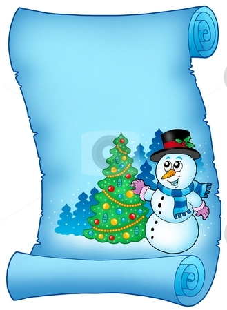 Blue parchment with snowman and tree stock photo, Blue parchment with snowman and tree - color illustration. by Klara Viskova
