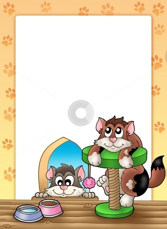 Frame with two smiling cats stock photo, Frame with two smiling cats - color illustration. by Klara Viskova