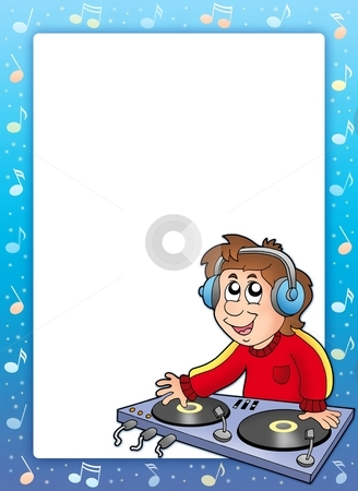 Music frame with cartoon DJ boy stock photo, Music frame with cartoon DJ boy - color illustration. by Klara Viskova