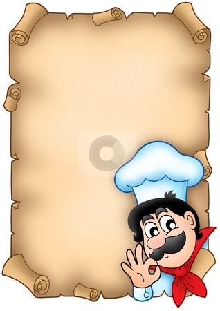 Old parchment with cute chef stock photo, Old parchment with cute chef - color illustration. by Klara Viskova